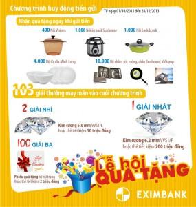 Gửi tiền ngắn hạn tại Eximbank nhận ngay phần quà giá trị