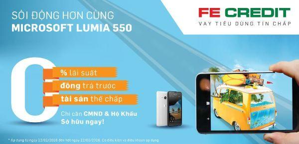 Cơ hội mua trả góp Lumia 550 trả trước 0 đồng lãi suất 0