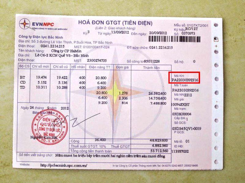 hóa đơn tiền điện đứng tên khách hàng
